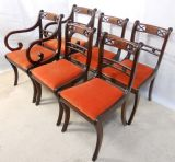 Set of Six Mahogany Dining Chairs in the Antique Regency Style